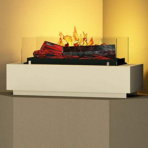 bergamo mobiletti - Opti-Myst Tischkamin Elektro-Kamin – offene Feuerstelle mit 3D Nebel-Flammen – 75 cm - Weiß
