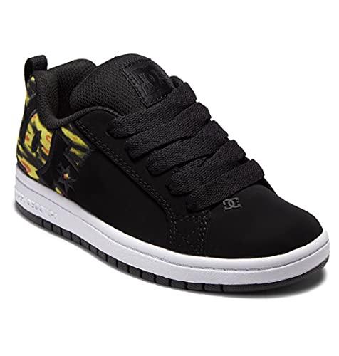 DC Shoes Court Graffik - Zapatillas de skate para niño, Color negro fluorescente amarillo., 35 EU