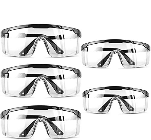 5 PACK Clear Safety Glasses Personal Protective Equipment Standard Transparent Goggles UV Protection Adult Goggle, Eyewear Protection -Black Color