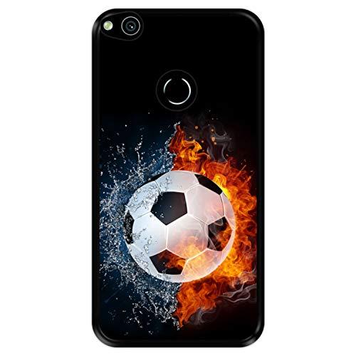 Custodia per [ Huawei P8 Lite 2017 - Huawei Nova Lite ] Disegni [ Fuoco e Acqua, Pallone da Calcio ] Cover Guscio in Silicone Flessibile Nero TPU