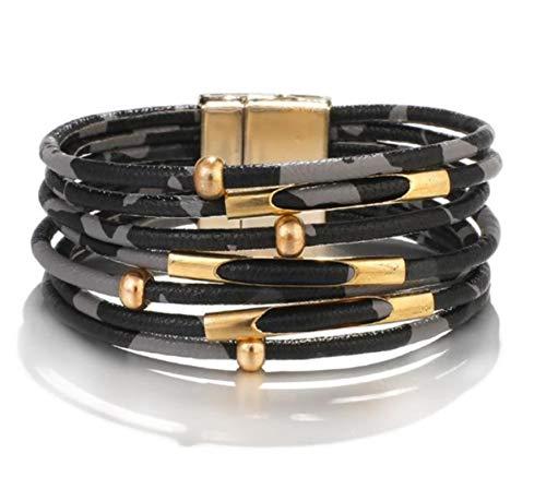 Pulseras de cuero de leopardo para mujer Pulseras y brazaletes de moda Elegante pulsera de múltiples capas de envoltura ancha Joyería