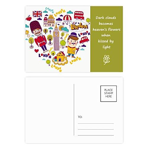 Postkarten-Set in Herzform, rote Telefonzelle, englische britische Poesie, 20 Stück