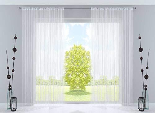 2er Set Fadengardine, HxB 250x300 cm, Weiß mit Tunneldurchzug und eingenähtem Kräuselband, geeignet für Gardinenstangen und Gardinenschienen Fadenvorhänge Fadenstores Raumteiler, 20303CN2