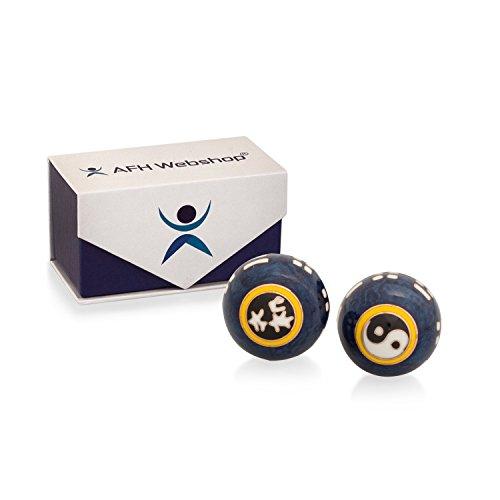 Meditation Qi-Gong-Kugeln mit Klangwerk | Klangkugeln | Yin Yang | Design Yin Yang blau | verschiedene Durchmesser … (Ø 45 mm)