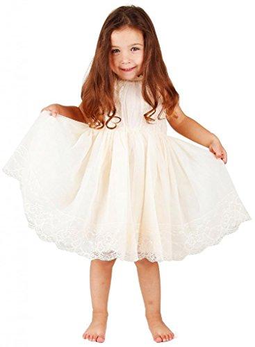 Bow Dream Mädchenkleid aus Vintage Spitze Elfenbein Creme 10 Jahre