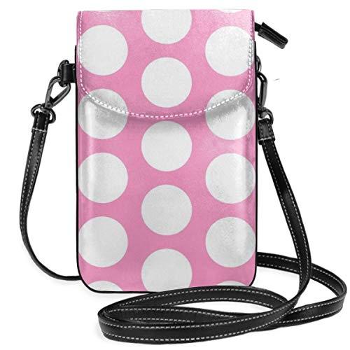 Círculos blancos en rosa pequeña bolsa cruzada para teléfono celular, monedero, tarjeta titular bolsa con correa ajustable para las mujeres