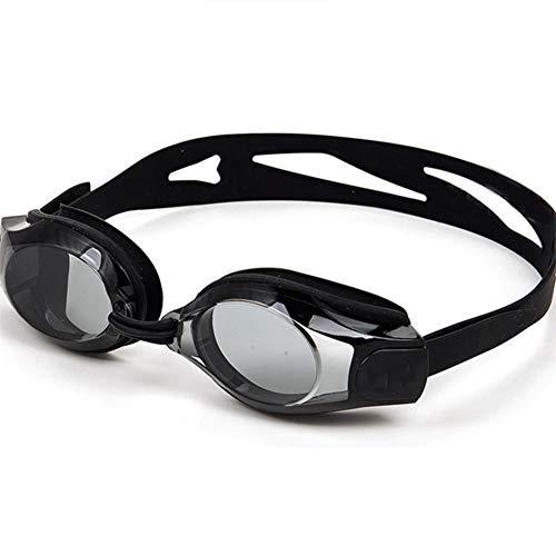 J Gafas de natación Planas de Alta definición, Correas Ajustables, Marco Suave de Gran Angular, Ajuste los contornos de la Cara, Impermeable, Anti-Niebla, Anti-rasguño, Negro
