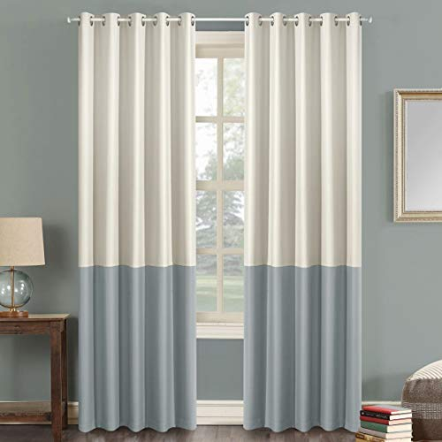 """LoyoLady Ivory and Light Grey Blackout Curtains 96 Inch Length 2 Panels Two Tone Grommet Top Curtains for Bedroom 52"""" W x 96"""" L"""