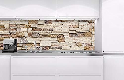 Küchenrückwand Verbundplatte STEINIGE Wand 180 x 60 cm | Spritzschutz Küche für Herd Spüle | Premium Qualität, Alu Dibond, Stärke 3 mm - Made in EU | Inklusive Kleber