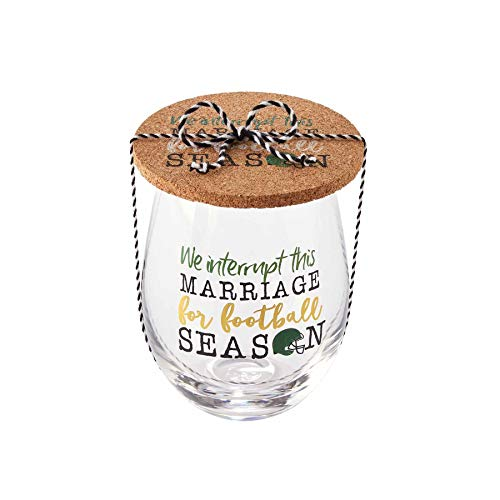 Mud Pie Game Day Glass and Coaster Set of 2 (Marriage)