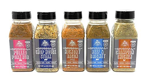 Pit Boss Original Barbecue Seasoning Variety Pack of 5 Bottles - Beef and Brisket, Champion Chicken, Hickory Bacon, Chop House Steak, and Pulled Pork Rub - 32.4 oz Total of Gluten Free Seasoning