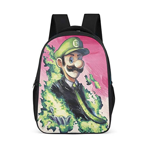 XHJQ88 mochila verde Mario personalizable grande para libros, bolsa de impresión con...