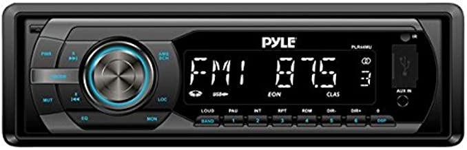 Universal Car Stereo Headunit Receiver - 12V Single DIN Style Digital Automobile Indash Radio System w/ MP3, USB, SD, AUX, RCA, AMFM Radio - Remote Control, Power Wiring Harness - Pyle PLR44MU (Black)