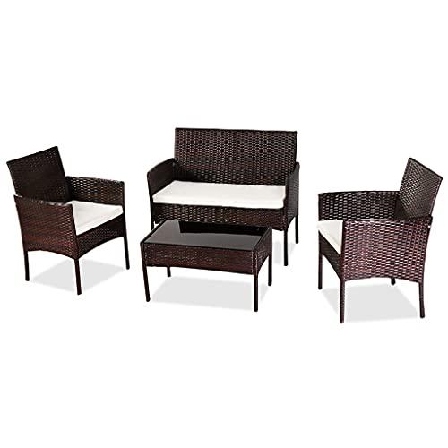 PIFRIT Gartenmöbel-Set aus Polyrattan, für 4 Personen Gartenlounge Set, Lounge-Set, in Rattanoptik, Terrassenmöbel, Balkonmöbel, für Terrasse, Garten, Balkon (Braun)