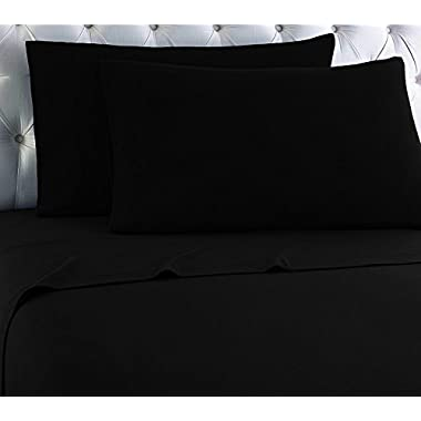 Empire Home Heavy Winter Flannel 100% Cotton Sheet set Fitted Flat Pillow Cases Deep Pocket (Midnight Black, Queen Size)