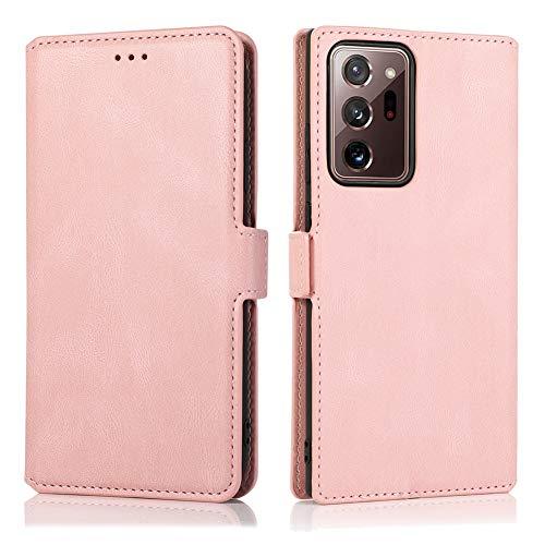 Capa Grandcase para Galaxy Note 20 Ultra, capa de proteção ultrafina com compartimento para cartão de couro vintage dobrável com suporte magnético para Samsung Galaxy Note 20 Ultra 7 polegadas – Ouro rosa