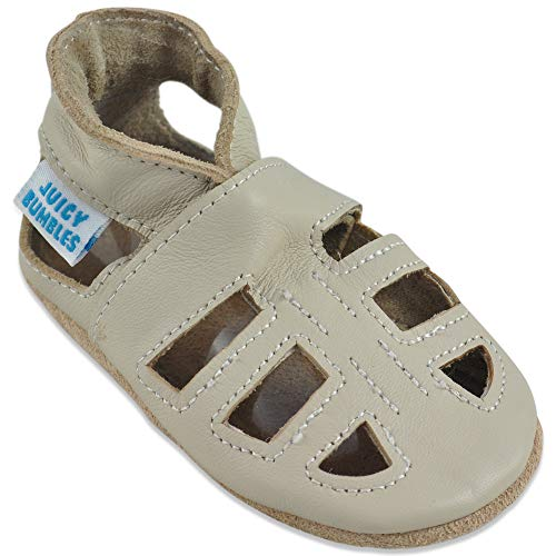 Baby Sandalen - Lauflernschuhe - Krabbelschuhe - Babyschuhe - Beige T-Bar Sandalen 12-18 Monate (Größe 22/23)