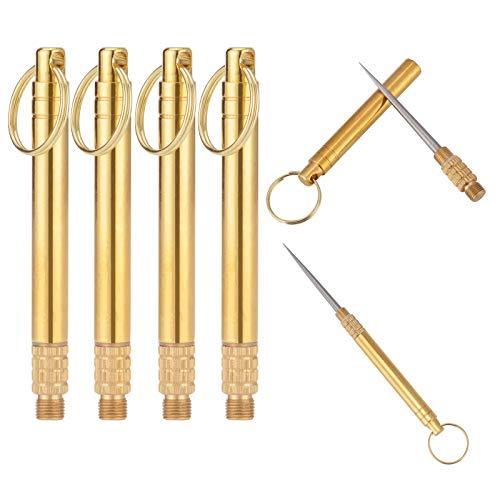 TTOOP Tragbar Zahnstocher, Titan Zahnstocher, Camping-Zahnstocher für Außenbereich mit Schlüsselanhänger Reise,Obstgabel, Stückzahl (4)