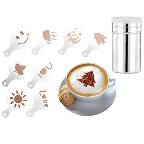 SIPLIV Coffee Art Tool Kit 60 verschillende soorten patronen koffie decoratiesjablonen en een roestvrij stalen cacaoopoedershaker met fijnmazig deksel voor het bakken van koken in huis
