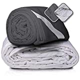 Feluna XXL Therapy Blanket Heavy Weight Blanket 155x200cm - Anti-Stress Bed Blanket Weighted Gravity Blanket for Anxiety and Sleep Disorders; 8 kg; (Gris)