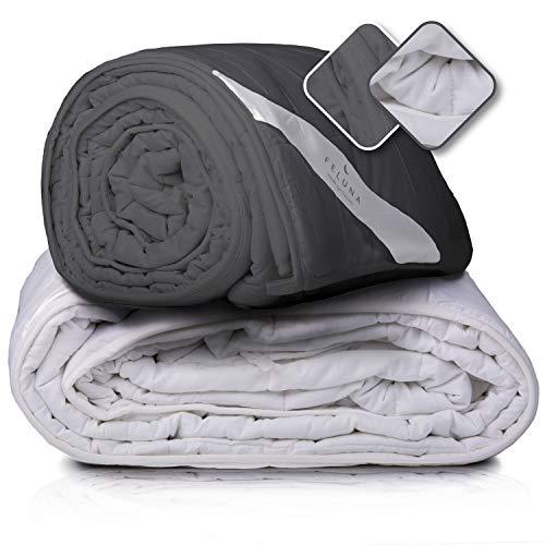 Feluna XXL Therapiedecke Schwere Gewichtsdecke 155x200cm 8kg - Anti-Stress Bett-Decke Weighted Gravity Blanket für Angst- u. Schlafstörungen; (Grau)