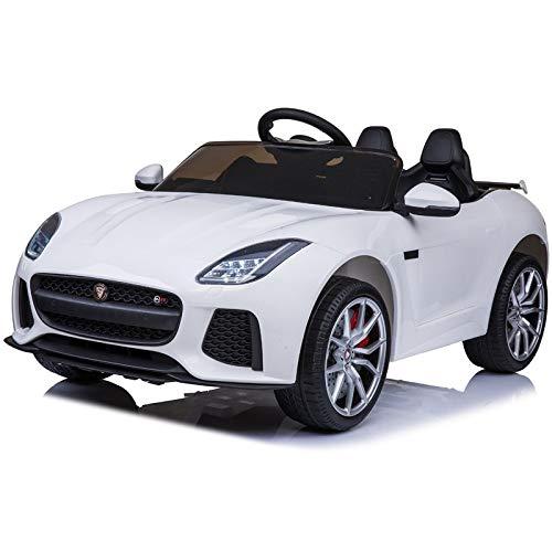 Jaguar 12v -Bianco - Auto elettrica per Bambini a Batteria 12v Macchina per Bambini licenziato con Telecomando