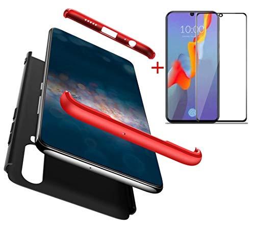 AILZH Compatibles para Funda Huawei P30 Carcasa+[Cristal Templado] 360 Grados Caja protección de cáscara Dura Anti-Shock Caso Mate Bumper Antichoque Case Cover(Rojo Negro)