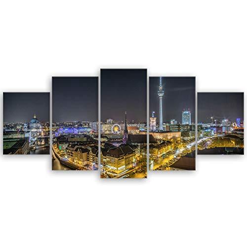 Bilderdepot24 hochwertiges Leinwandbild XXL - Skyline von Berlin II - Deutschland - 150 x 70 cm mehrteilig (5 teilig) 3139II