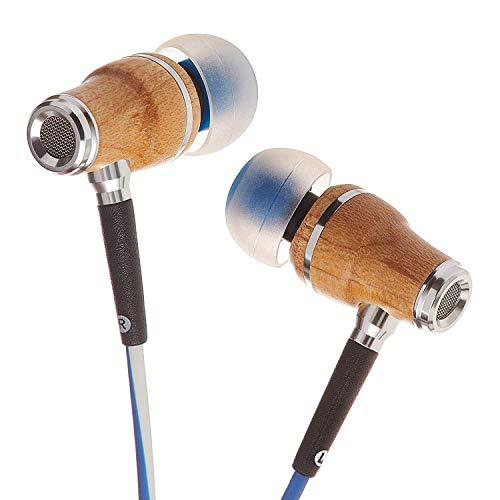 Symphonized NRG X Houten Oordopjes met Draag en Microfoon, Stereo In-Ear Koptelefoon voor Samsung en Huawei, Geluidsisolerende Koptelefoon met Hoekige Oordopjes, Oordopjes met Snoer en Dreunende Bas (Blauw en Wit)