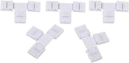 Fdit 5 st hållbara unika X/T-formade lödlösa 4-stifts fästanslutningar adaptrar 4 kanalers chips för 10 mm RGB 5050 LED-re...