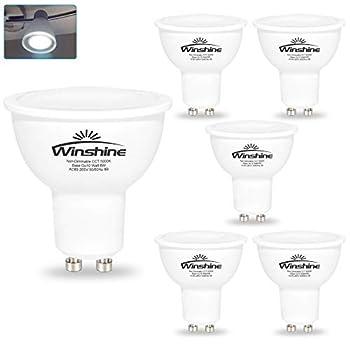 6W LED GU10 Light Bulbs Winshine 5000K Daylight White Non-dimmable 50W Halogen Bulb Equivalent 120 Degrees Beam Angle Spotlight 550lumens 120V Pack of 6