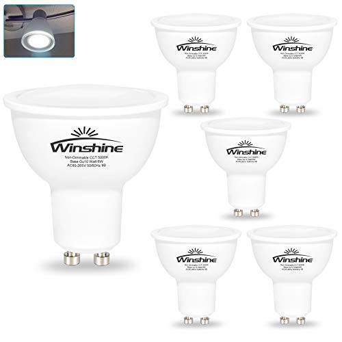6W LED GU10 Light Bulbs, Winshine 5000K Daylight...