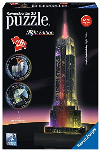 Ravensburger Puzzle 3D Empire State Building-Edizione Speciale Notte, 216 Pezzi, Colore Nero, 12566 1