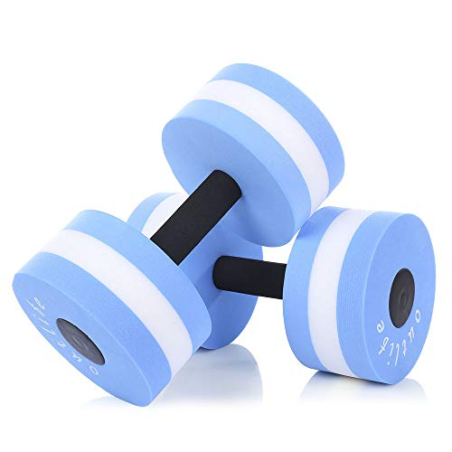 Save %69 Now! MUMAX Aquatic Exercise Dumbbells, 2PCS Foam Dumbbells Fitness Barbells Exercise Hand B...