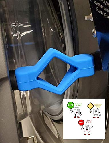 Prop and Stop – Front Load Washer Door Holder: Dry Properly/Prevent Odors! With Set of Whimsical Instruction Magnets (Grey)