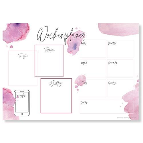 Wochenplaner Block A3 (25 Blatt) - Schreibtischunterlage mit To Do Liste - Wochen Planer aus Papier als Schreibtisch Unterlage - Weekly Planner Undatiert - Schreibunterlage mit Wochenplan - Aquarell