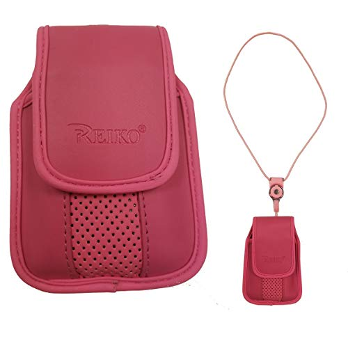 Around The Neck Pink Leather Case with Pinch Clip for ZTE z432 Phone