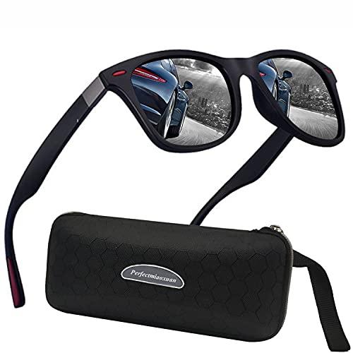 Perfectmiaoxuan Polarisierte Sonnenbrille Herren Damen Retro Sonnenbrille Männlich/Sport im Freien Golf Radfahren Angeln Wandern Eyewear Sonnenbrille (Schwarzer Rand/Silber Verspiegelt)