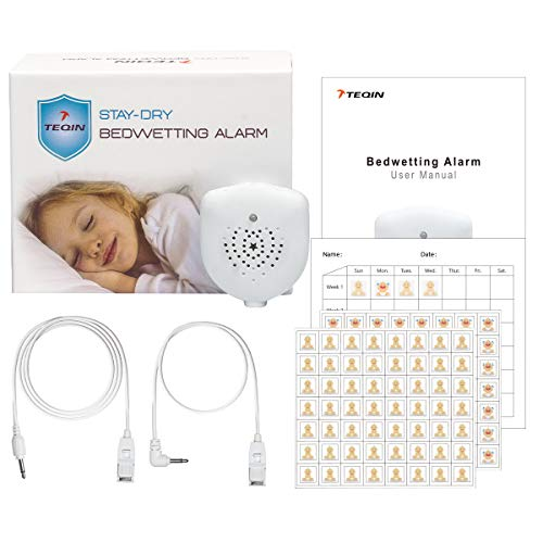 Bedwetting Alarm for Boys Girls Kids, Rechargeable, Volume Control, Music Optional and Strong Vibration