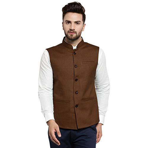 Yard Of Deals Designer Caremal Brown Solid Jute Nehru Jacke für Herren - - XX-Large