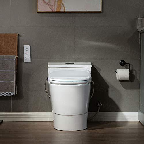 WOODBRIDGE T-0047 One Piece 1.1GPF/1.6 GPF Dual Flush Elongated Toilet with Advance Smart Washlet Bidet in White