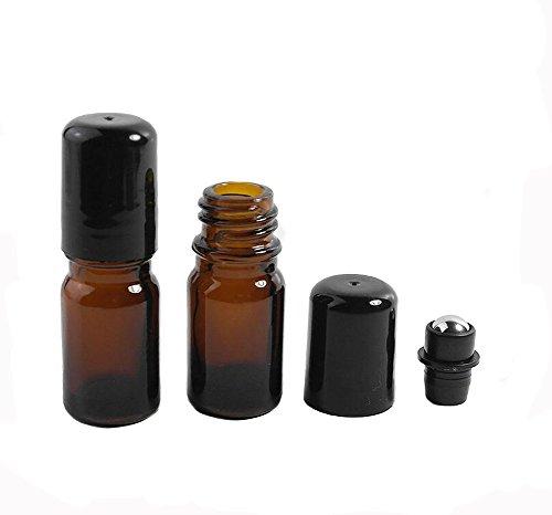 6 botellas recargables de vidrio marrón de 5 ml con bolas de acero inoxidable para embalaje, contenedor de despliegue con bolas de metal y tapas negras gruesas de plástico dorado para viajes