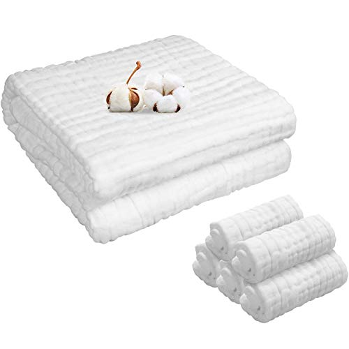 BANGSUN Juego de 5 toallas de baño de muselina cuadradas, 1 manta, 6 capas, algodón, 6 unidades