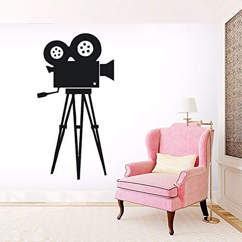 yiyiyaya Film Kamera Wandtattoo Film Werkzeug Vinyl Wandaufkleber Kino Retro Wandkunst Removable Home Decoration Kamera Wand grau 56x106 cm