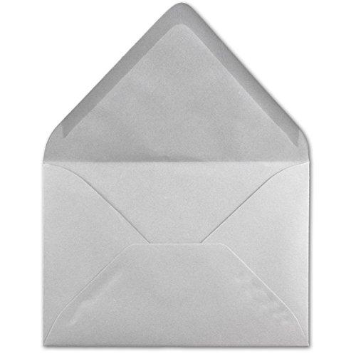 100 DIN C6 Briefumschläge Hellgrau - 11,4 x 16,2 cm - 120 g/m² Nassklebung Brief-Hüllen ohne Fenster für Einladungen von Ihrem Glüxx-Agent