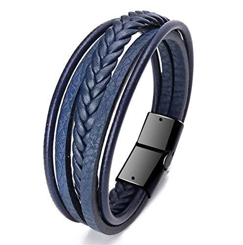 LSDJ QMDSH - Pulsera de moda para hombre, cuerda trenzada multicapa (color metálico: 17)