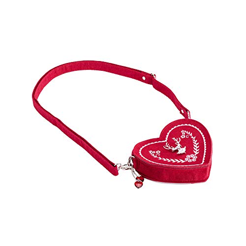 Damen Oktoberfest Tasche - Herz Kostüm Tasche mit Edelweiss, Hirsch Brosche und Herz Blumen Stickerei - Schöne Handtaschen für das Oktoberfest Dirndl