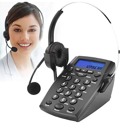DIGITNOW! Teléfono Fijo - Call Center Teléfono con Auriculares Manos Libres, teléfono con Cable Incorporado en la Pantalla de Llamadas, contestar de Forma automática o Manual Teléfono de la Oficina