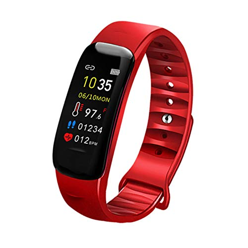 Jorwell 2020 Pulsera Inteligente para Hombres Y Mujeres, Información Push Push Sleep Paso Contador Control Música Control Fitness Tracker,Rojo