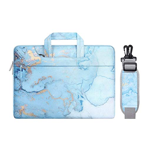 MOSISO Laptop Shoulder Bag Compatible with 13-13.3 inch MacBook Pro, MacBook Air, Notebook Computer, Polyester Watercolor Marble Carrying Briefcase Sleeve, Turquoise